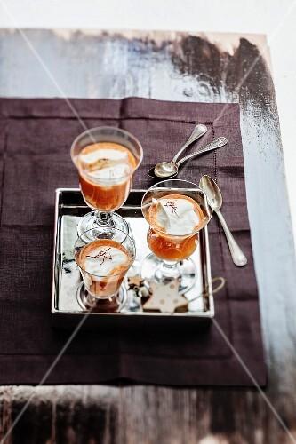 Saffron-flavored shellfish bisque cappuccino