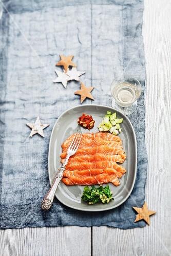 Raw Scottish salmon with seasonings