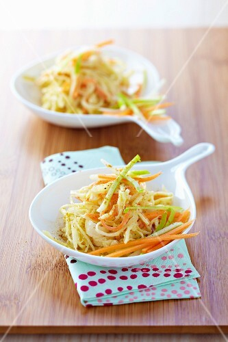 Raw sauerkraut ,carrot and green apple salad