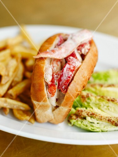 Lobster roll with french fries at the Lobster Bar in Paris