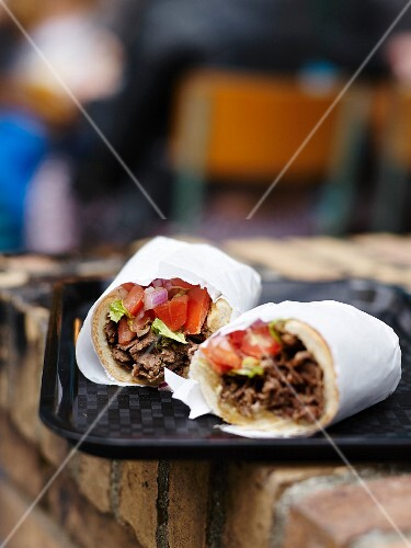 Beef and vegetable rolled sandwich