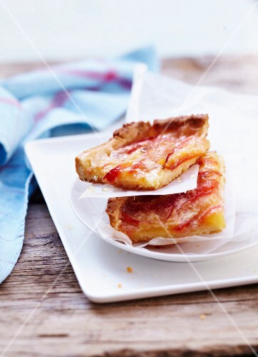 Slices of plum tart