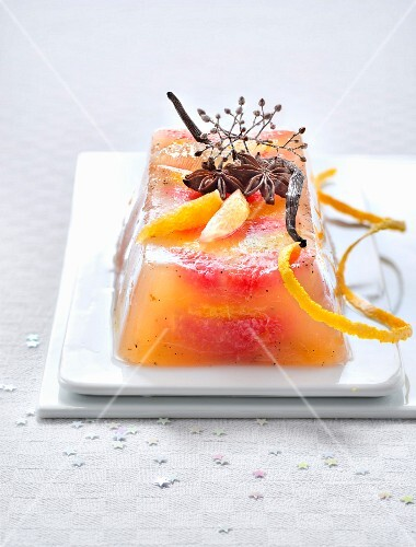 Citrus fruit jelly terrine with vanilla and star anise