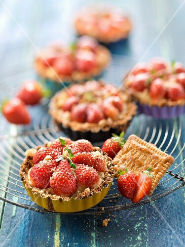 Strawberry and rich tea biscuit tartlets