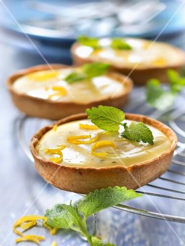 Lemon curd and lemon balm tartlets
