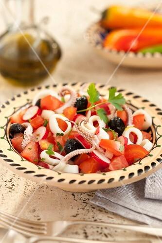 Squid,onion ,radish and tomato salad