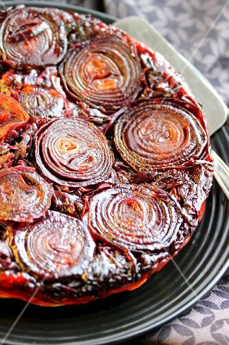 Red onion and red cabbage savoury tatin tart