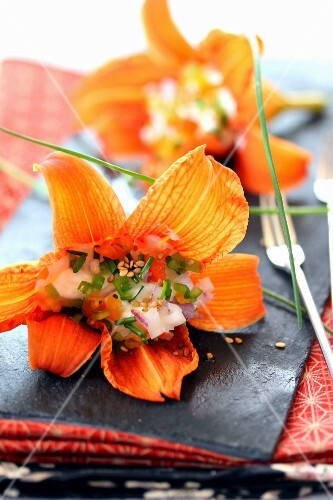 Orange lilies suffed with cream cheese