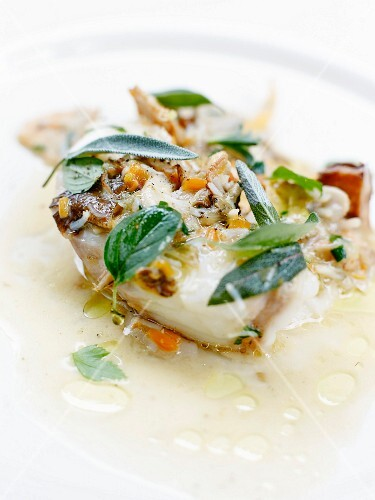 Cod with herbs and essential oil juice,young mushrooms