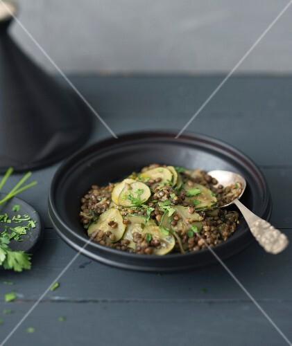 Lentil and courgette tajine