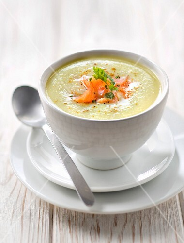 Cream of courgette soup with smoked salmon