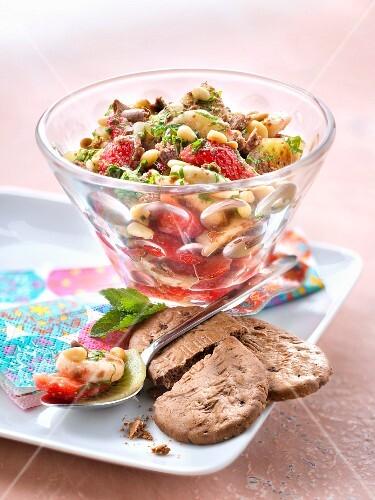 Fruit salad with BelVita biscuit crumbs