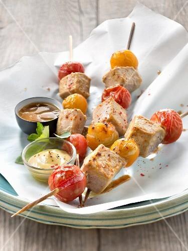 Red tuna,yellow and red cherry tomato brochettes,mustard sauce and vinaigrette