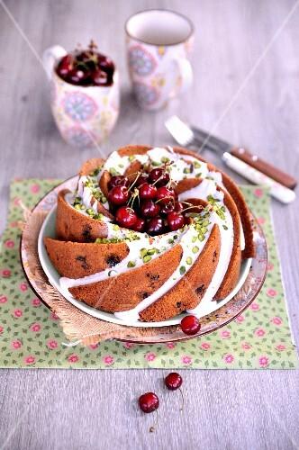 Cherry and pistachio Bundt cake