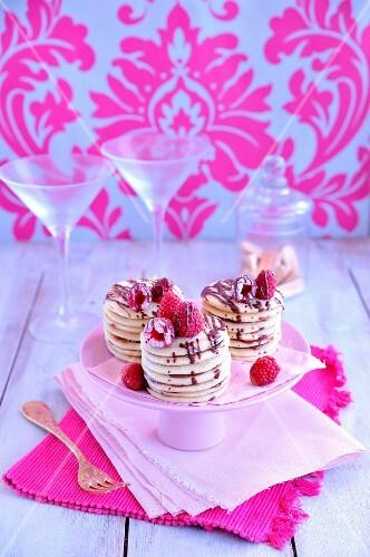 Chocolate and raspberry Baghrir cake