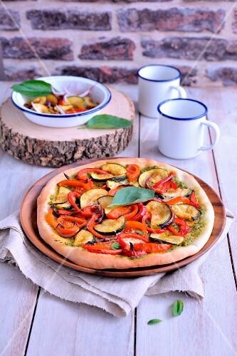 Oriental-style roasted vegetable pizza