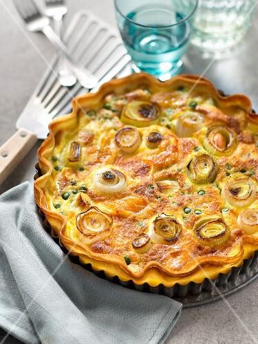 Filo pastry tart with leek, haddock and peas
