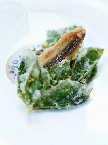 Eel and basil tempura with a seaweed emulsion
