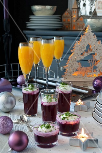Red cabbage and apple gazpacho with salty whipped cream and fresh herbs and Champagne and orange Christmas cocktails