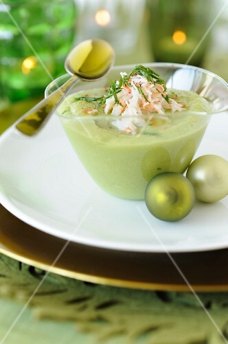 Cucumber and avocado gazpacho with crab meat