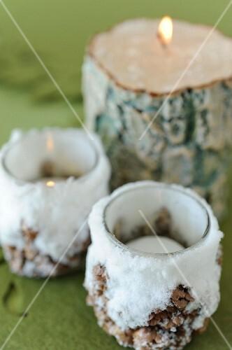 Snowy log tealights