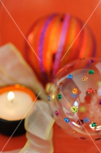 Orange Christmas ball decorations