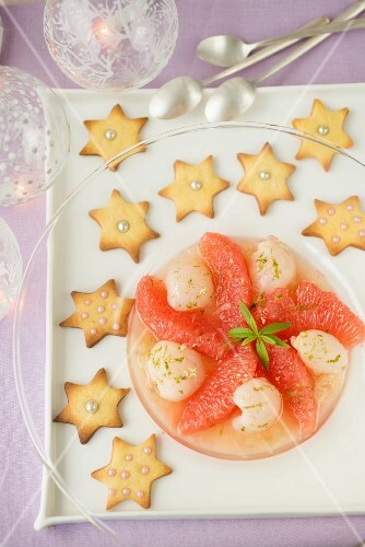 Grapefruit,lychee and lime fruit salad ,star shortbreads