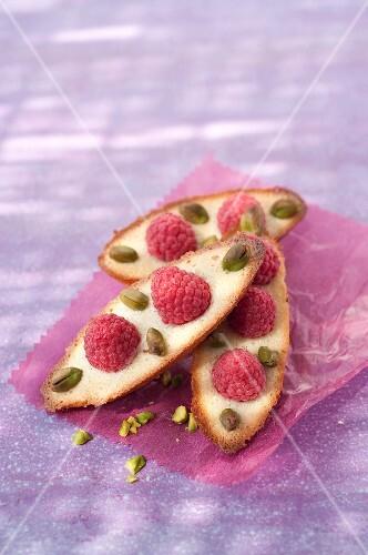 Raspberry and pistachio Financiers