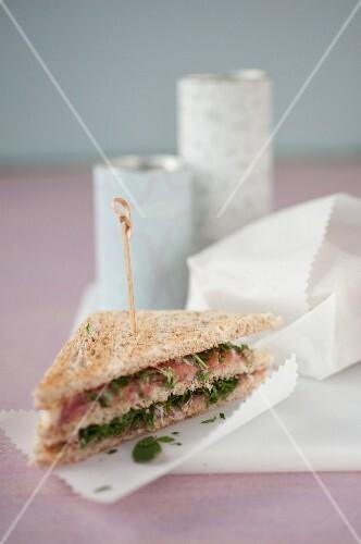 Parma ham,hummus,parsley and mint club sandwich