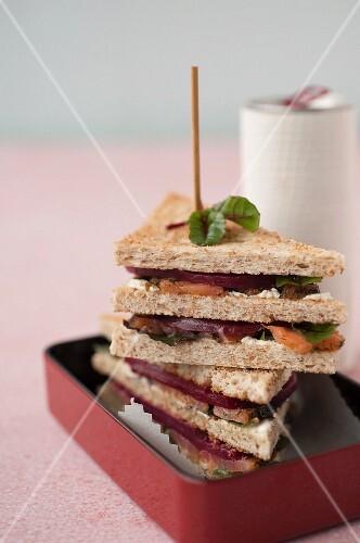 Gravlax salmon,beetroot and horseradish Northern club sandwich