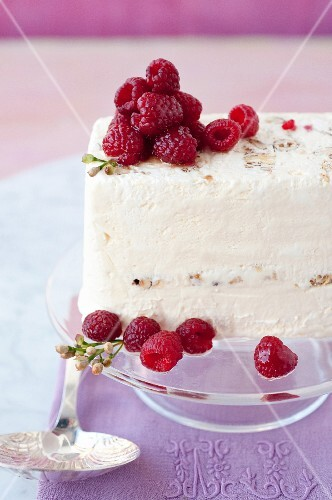 Nougat and marinated raspberry Semifreddo