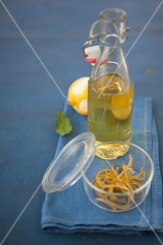 Homemade confit lemon zests