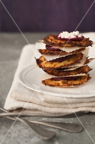 Potato galettes topped with grilled beetroot and feta