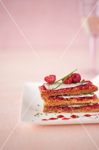 Sardine and raspberry Mille-feuille