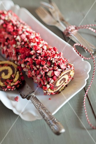 Two-flavored rolled sponge cake coated with crushed pink pralines