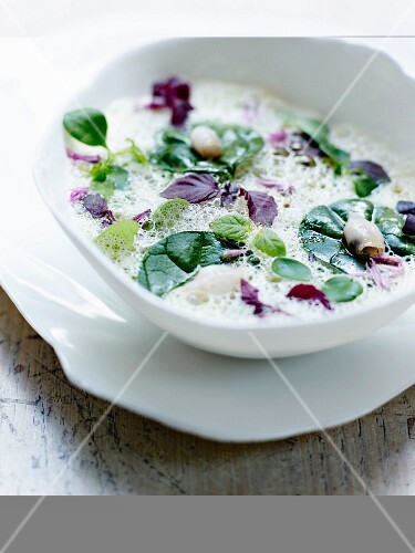 White vegetable emulsion with basil,corn lettuce and Chipirons