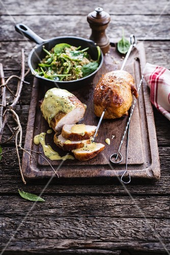 Roasted chicken with lemon butter,Pan-fried bulghour and spinach