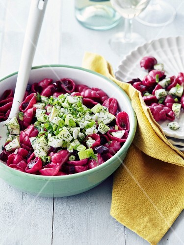 Beetroot gnocchis,cucumber,spring onion and dill salad