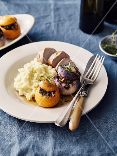 Yellow and purple turnips stuffed with ground meat,homemade mashed potatotes and veal filet mignon