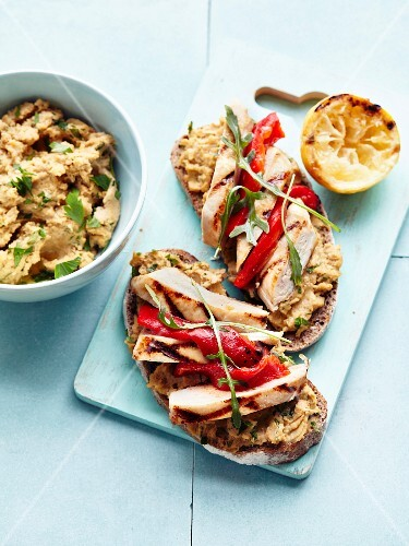 Chickpea and coriander spread,grilled chicken,stewed red pepper and basil open sandwiches