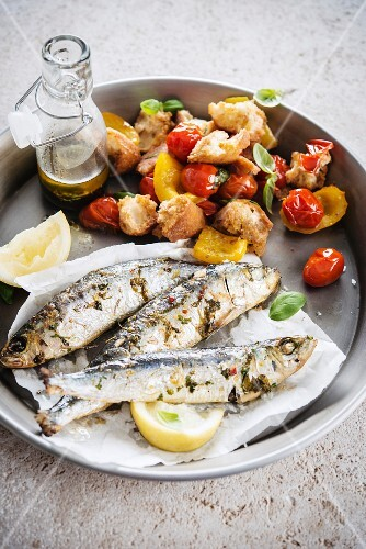 Sardines with herbs and Panzanella (Italian bread salad)