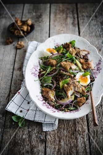 Lentil salad with mackerel and soft-boiled egg
