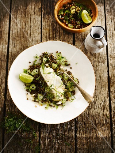 Steamed cod with lentils,celery and lime