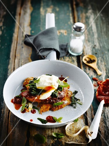 Polenta Schnitzel with spinach and a poached egg