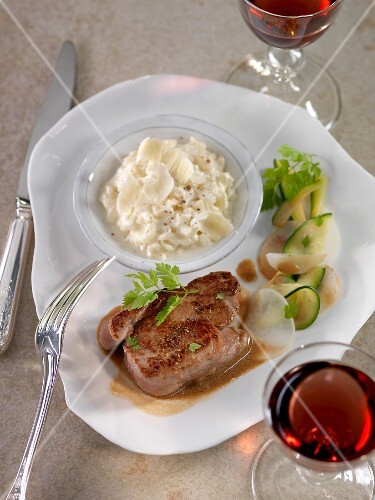 Veal steak,risotto with parmesan, courgettes and pan-fried turnips
