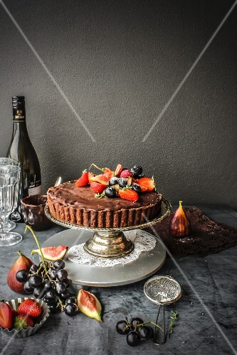 Dark chocolate and summer fruit pie