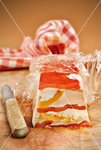 Ricotta and red and yellow terrine