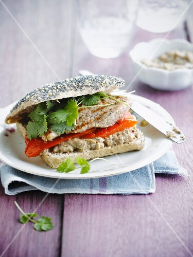 Stewed pepper,eggplant caviar and veal escalope sandwich