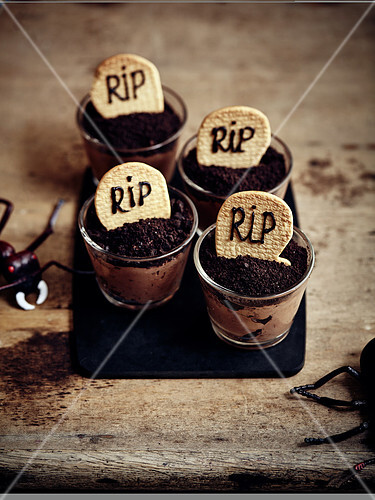 Chocolate mousse with 'grave stone' for Halloween