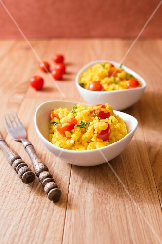 Saffron rice with cherry tomatoes